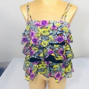 * Anthropologie liefnotes floral tiered tank sz 2